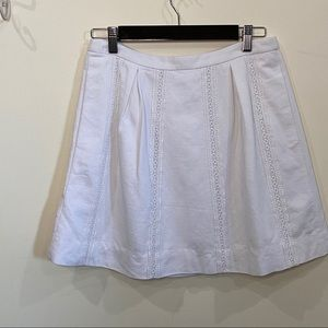 J. Crew A-line Skirt Pleated Embroidered Trim